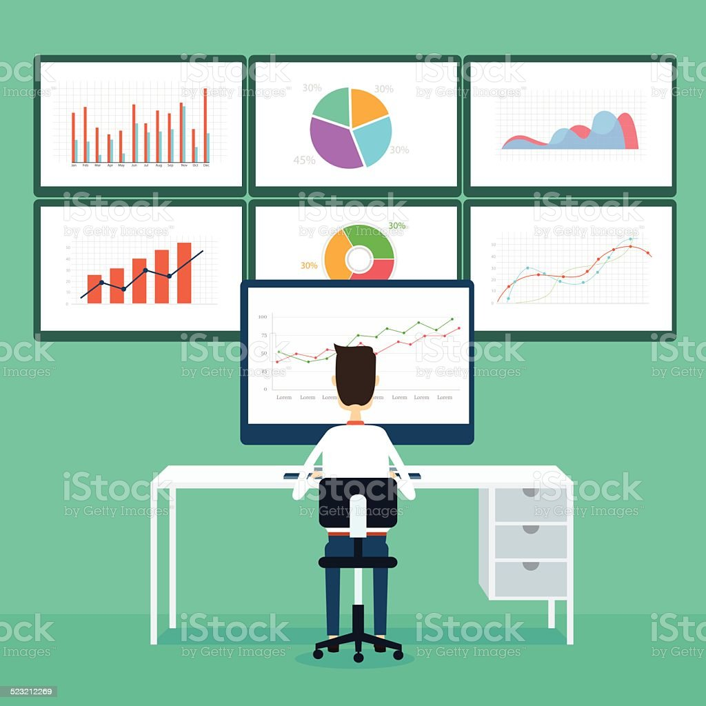 business people analytics business graph and seo on web vector art illustration