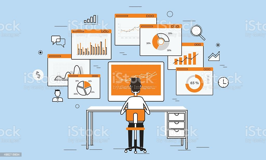 business people analytics business graph on monitor concept vector art illustration