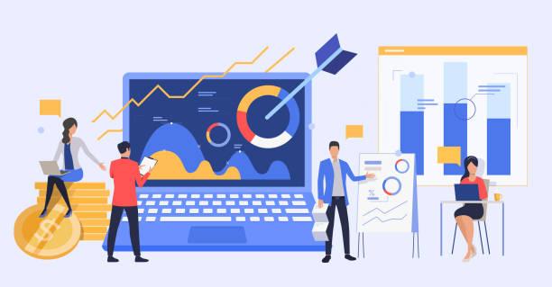 ilustrações, clipart, desenhos animados e ícones de pessoas de negócios analisando relatórios de marketing - dados