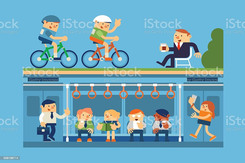 Business People and Commute to Work by Subway vector art illustration