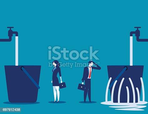 istock Business people and leaking bucket. Contrast between business. Vector illustration. 697912438