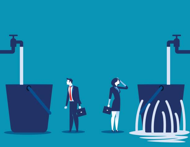 Business people and leaking bucket. Contrast between business. Vector illustration. vector art illustration