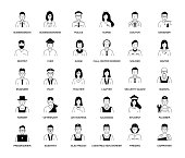 Business People and Occupations Line Icon Set
