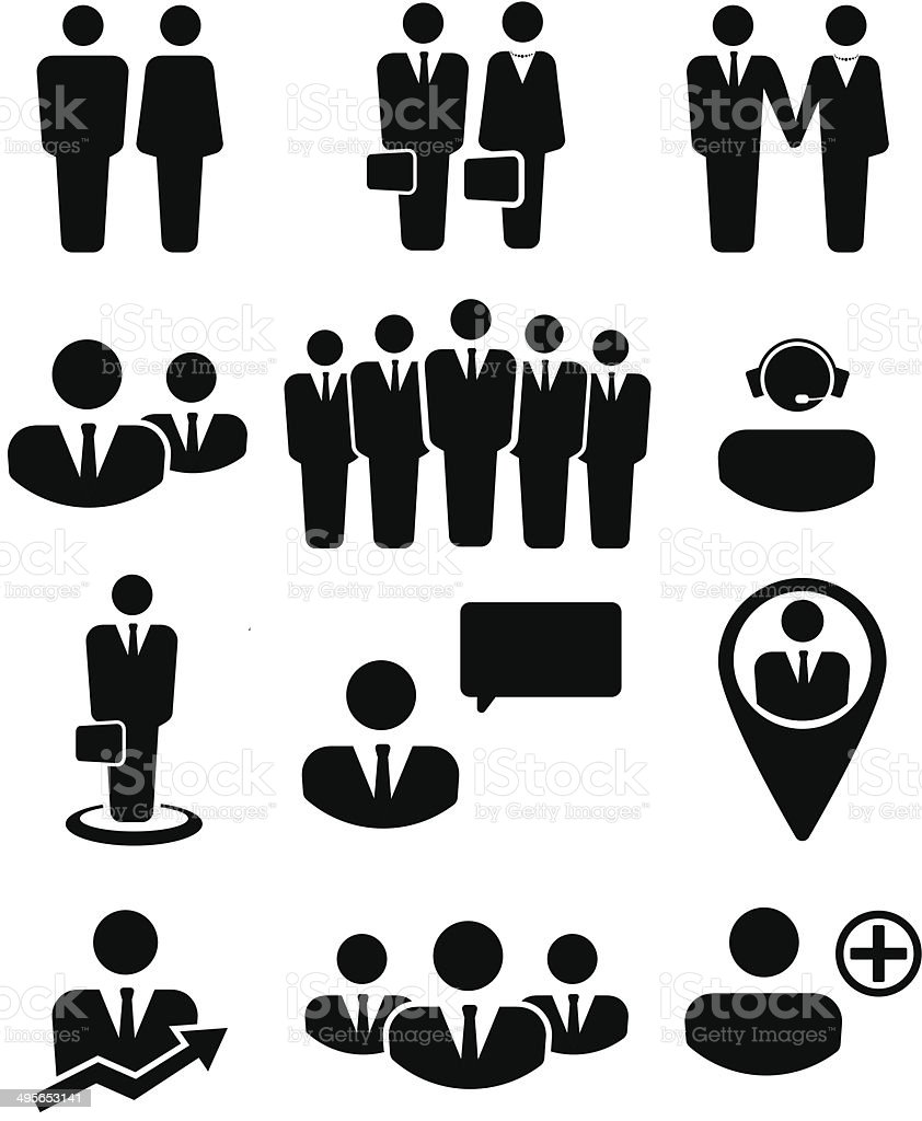 Business people and resources icons vector art illustration