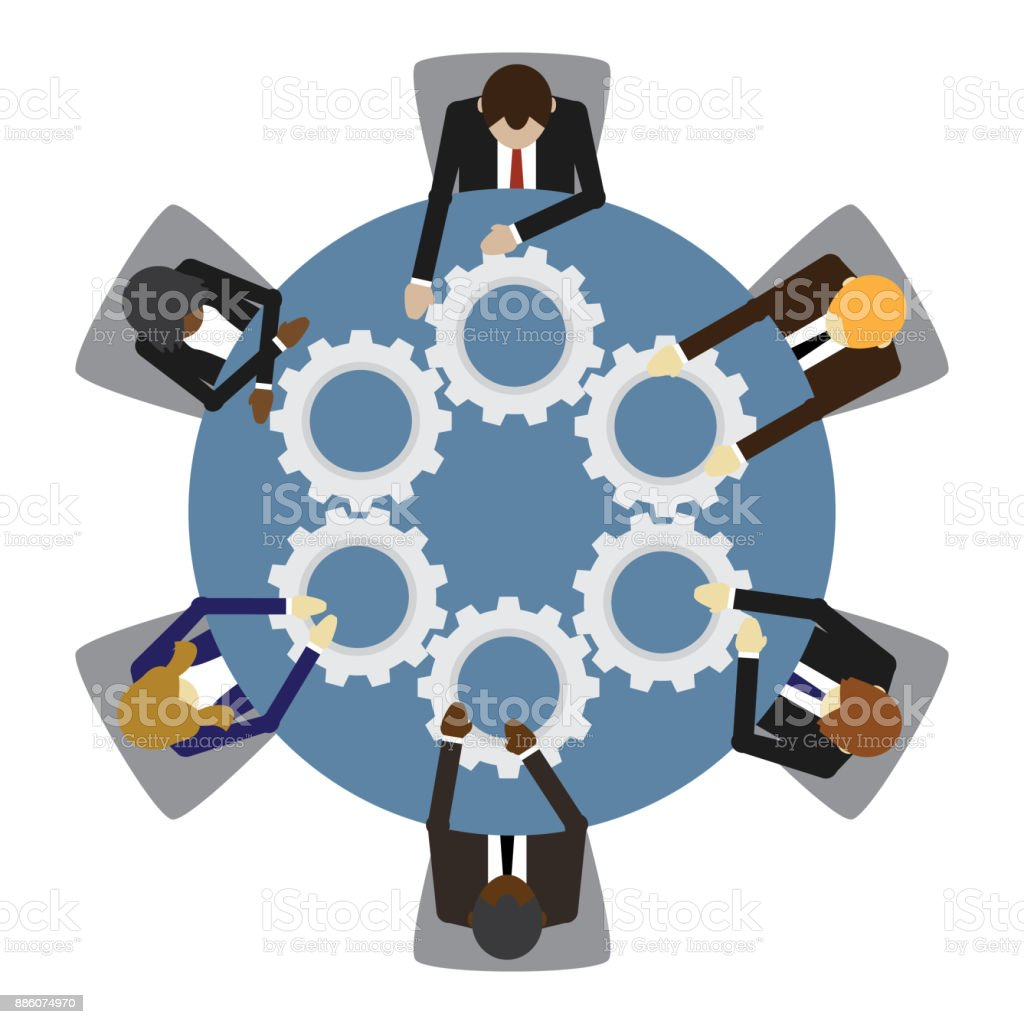 Business people and teamwork vector art illustration