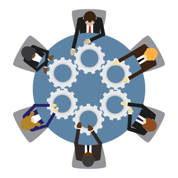 Business people and teamwork vector art illustration