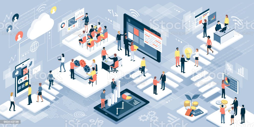 Business people and technology royalty-free business people and technology stock illustration - download image now