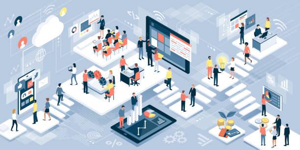 ludzie biznesu i technologia - rzut izometryczny stock illustrations
