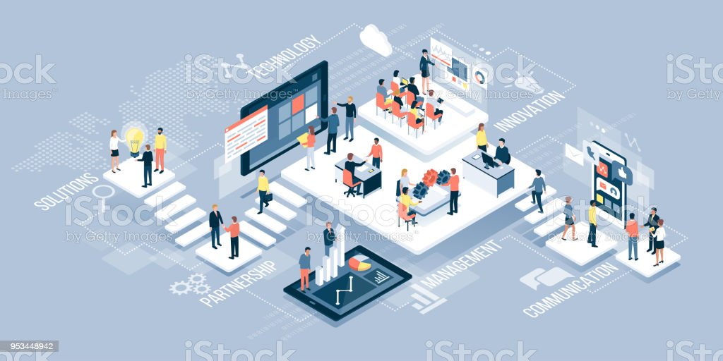 Business people and technology vector art illustration