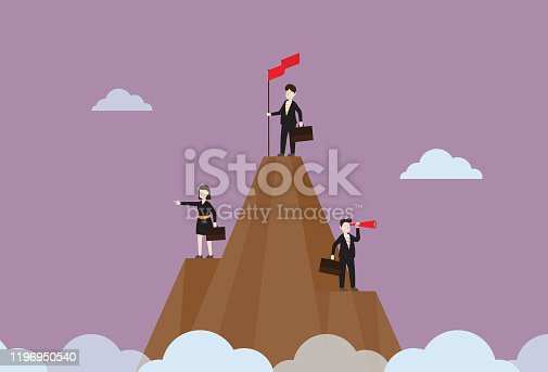 istock Business people are standing on a mountain 1196950540