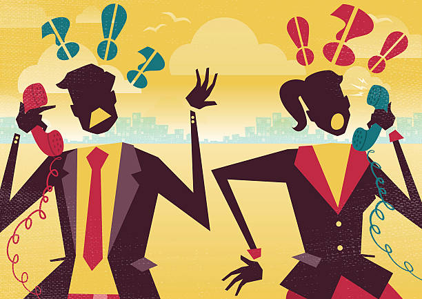 Business People Argue over the Telephone. vector art illustration