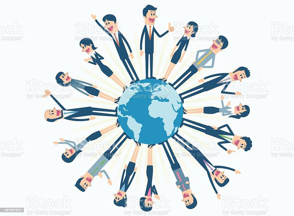 Business people around the world vector art illustration