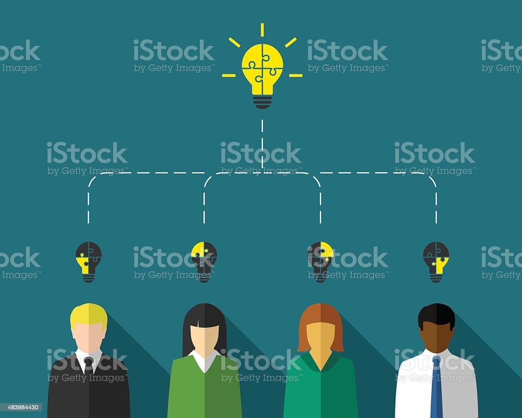 Business people as teamwork and brainstorm concept vector art illustration
