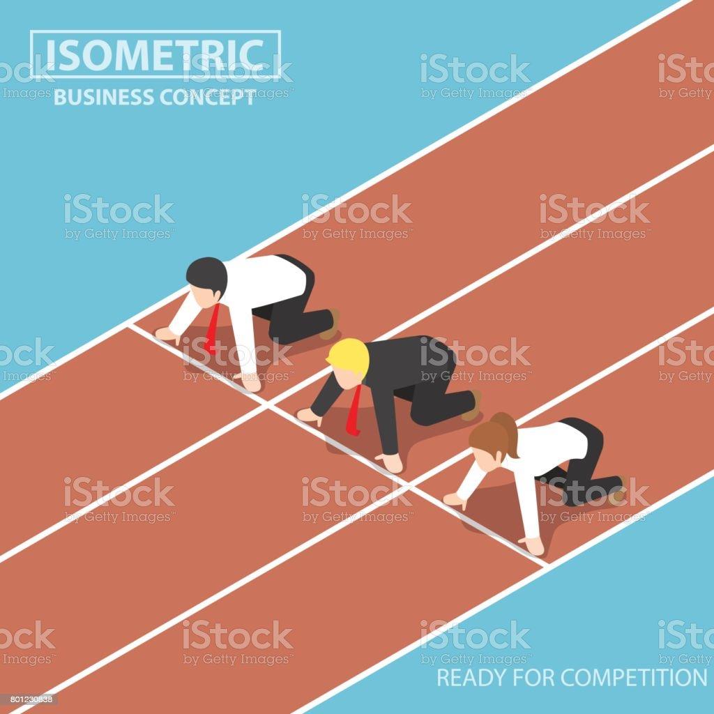 Business-Leute am Start der Rennstrecke und Ready to Race – Vektorgrafik