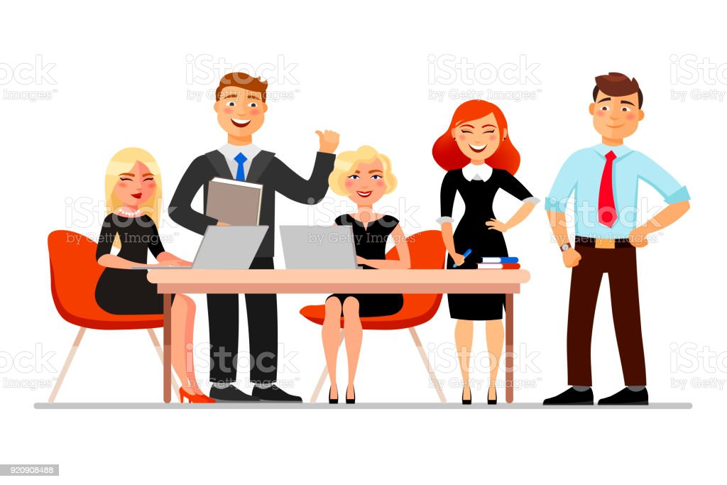Business people at the meeting isolated on white background. Vector illustration in cartoon flat style. royalty-free business people at the meeting isolated on white background vector illustration in cartoon flat style stock illustration - download image now