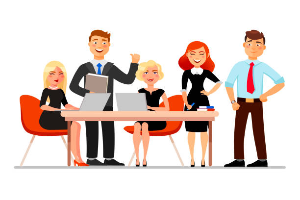 Business people at the meeting isolated on white background. Vector illustration in cartoon flat style. Business people at the meeting isolated on white background. Vector illustration in cartoon flat style happy boss stock illustrations