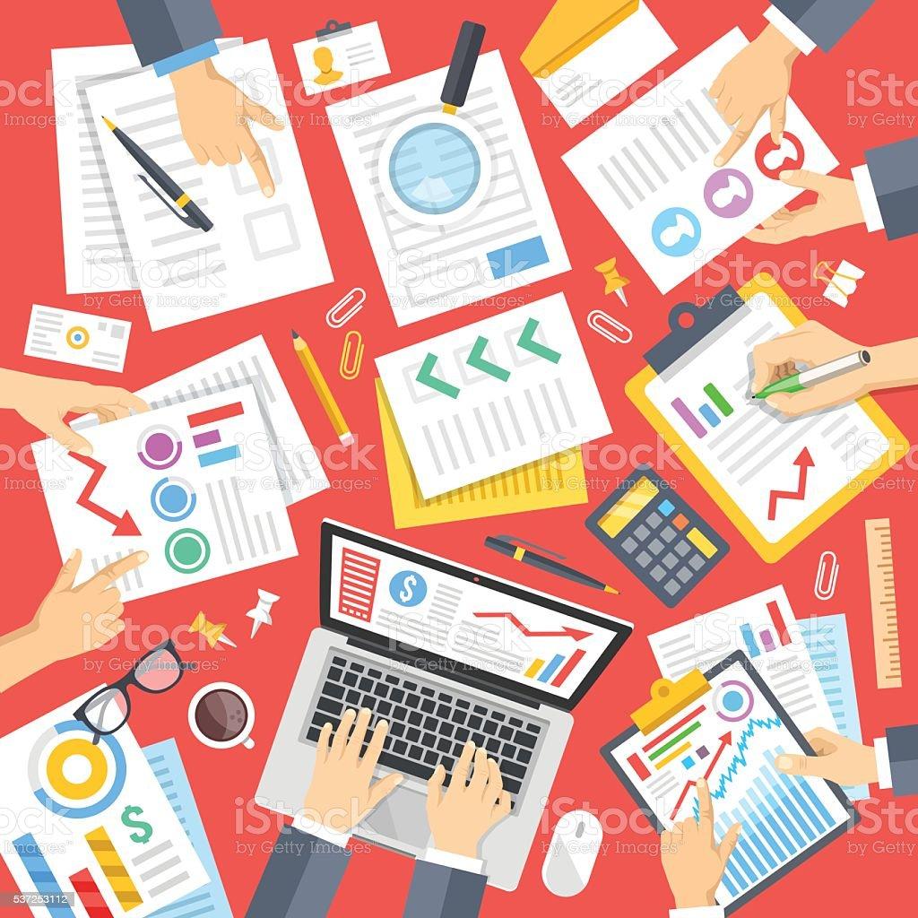Business people at work in office. Teamwork. Flat vector illustration vector art illustration
