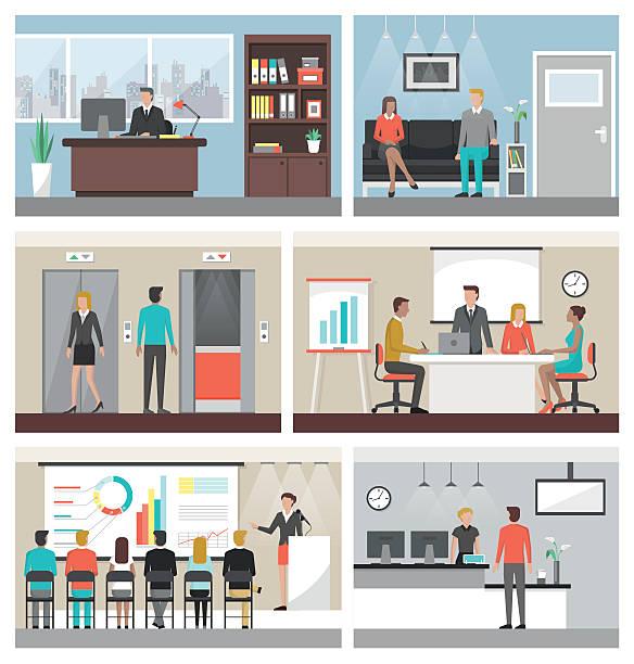 business personen am arbeitsplatz - oberhaus stock-grafiken, -clipart, -cartoons und -symbole