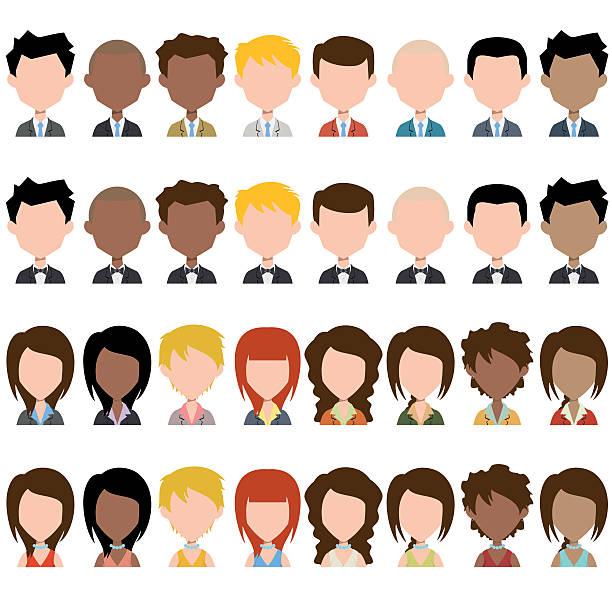stockillustraties, clipart, cartoons en iconen met business people avatar - kaal geschoren hoofd