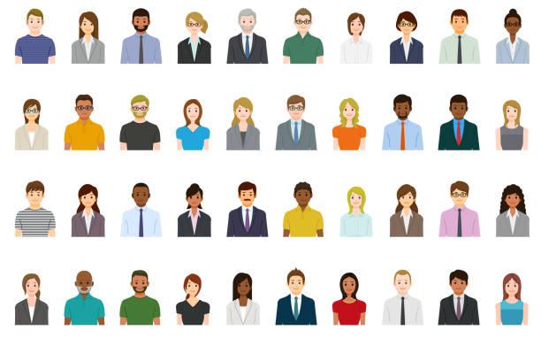 ilustraciones, imágenes clip art, dibujos animados e iconos de stock de conjunto de avatares para personas de negocios - asian woman