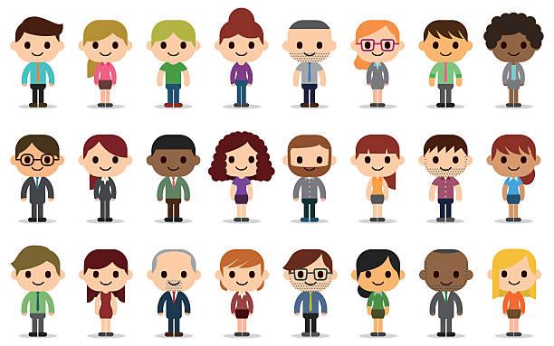 Business people avatars 24 people avatars. cartoon people stock illustrations