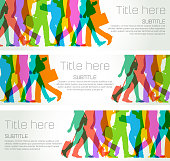 Colorful overlapping silhouettes of business people for Banner template.