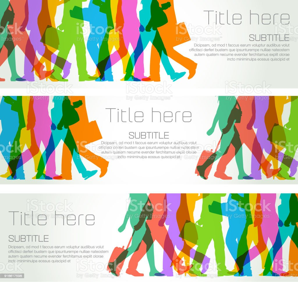 Business people banners vector art illustration