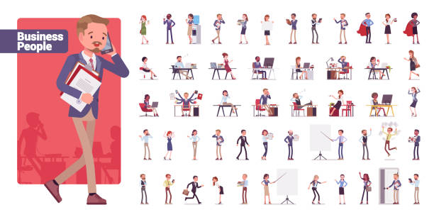 Business people big bundle character set Business people big bundle character set. Businessmen and businesswomen employed in company, working in office, white collar jobs. Vector flat style cartoon illustration isolated on white background group of objects stock illustrations