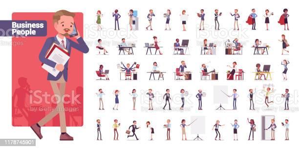 Ensemble De Caractère Set De Grand Paquet De Gens Daffaires Vecteurs libres de droits et plus d'images vectorielles de Adulte