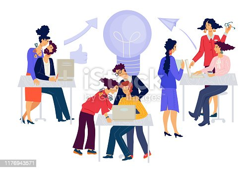 istock Business People Brainstorming Meeting. Men and women working creatively 1176943571