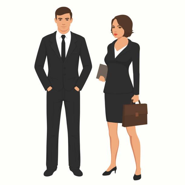 Geschäft Leute Geschäftsmann und Geschäftsfrau. Mann, Frau stehende Zeichen, – Vektorgrafik