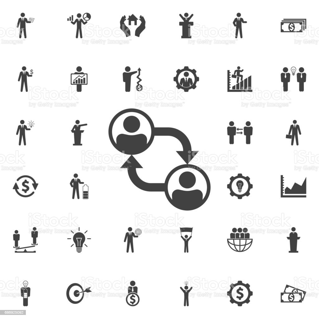 Business People Career Path Growth Vector Icon. vector art illustration
