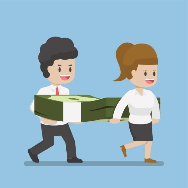 ilustrações de stock, clip art, desenhos animados e ícones de business people carrying pile of dollars money - bills couple