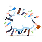 Business people cartoonish fight in smoke cloud tussle. Work conflict metaphor. Flat vector clipart illustration.