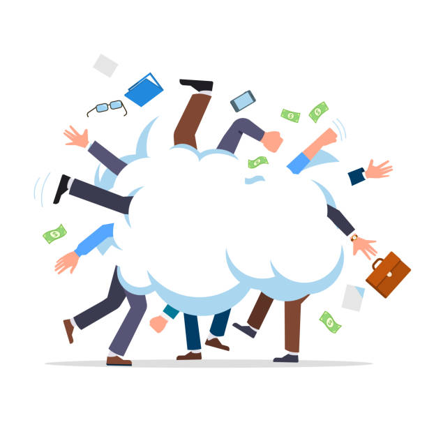 Business people cartoonish fight in smoke cloud tussle. Work conflict metaphor. Flat vector clipart illustration. Business people fight cartoon. Business man battle with each other. Colleagues group fighting in smoke cloud tussle. Flat style isolated vector character illustration on white background. arguing stock illustrations