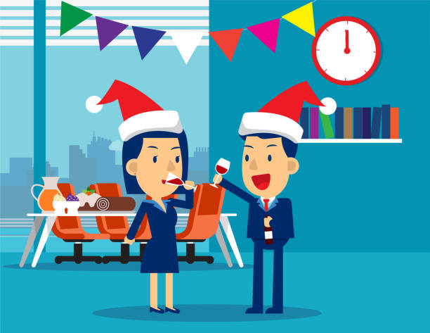 business people celebrate merry christmas and happy new year. concept business vector illustration, christmas, alcohol, holiday & event - office party stock illustrations, clip art, cartoons, & icons