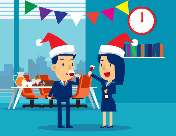 ilustraciones, imágenes clip art, dibujos animados e iconos de stock de empresarios celebran feliz navidad y feliz año nuevo. ilustración de vector de negocio concepto, navidad, alcohol, fiesta y evento - fiesta en la oficina