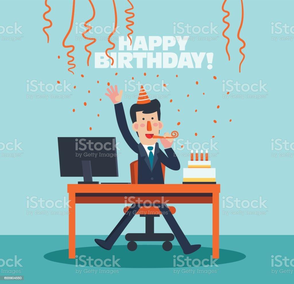 Business people celebrating a birthday in office - illustrazione arte vettoriale