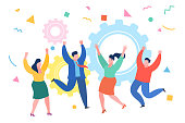 Business people celebrating a victory. Jump and dance on a white background. Flat design, vector illustration.