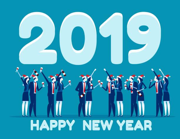 ilustraciones, imágenes clip art, dibujos animados e iconos de stock de empresarios celebran el año nuevo. concepto negocio vector ilustración, brindis de celebración, día de fiesta - eventos, fin de año. - fiesta en la oficina