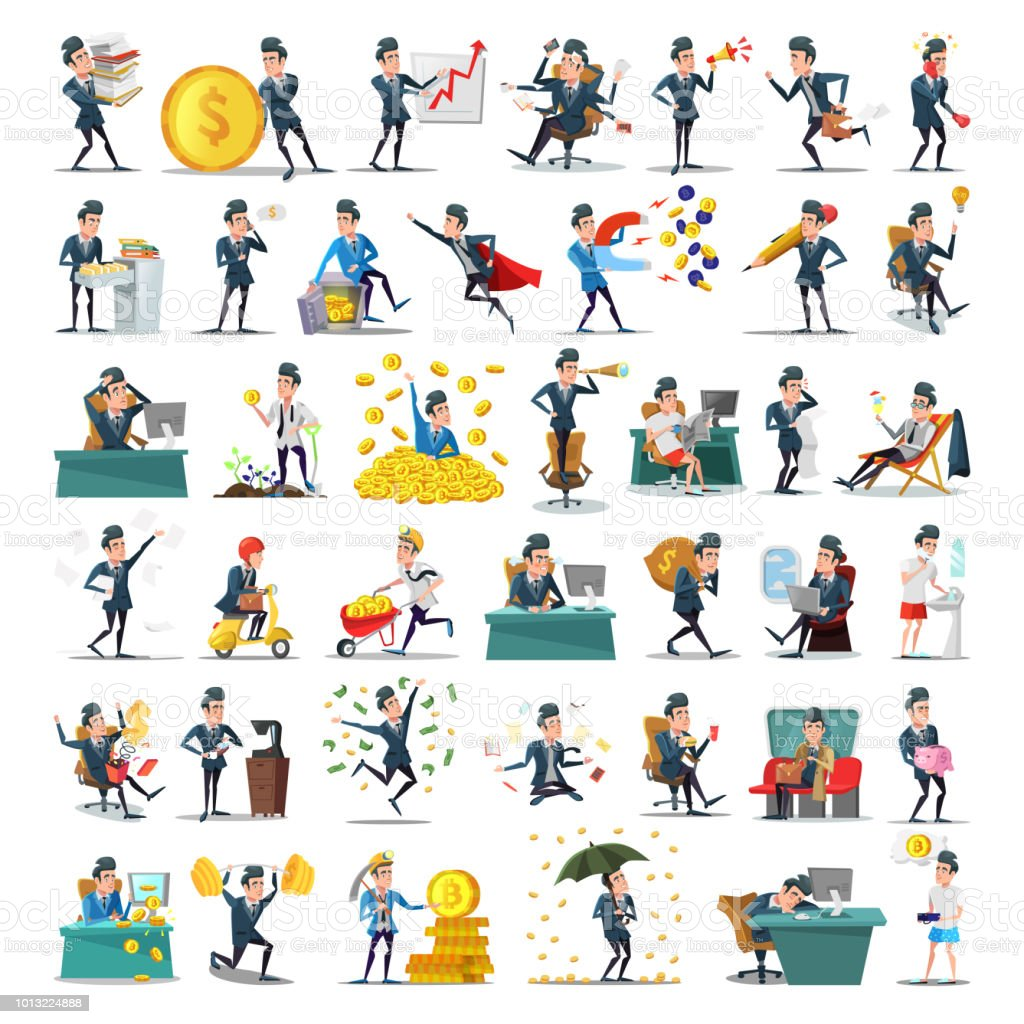 Business People Characters Collection Cartoon Businessman In Various Poses Motivation Leadership Career Success Concept Vector Illustration Stock Illustration Download Image Now Istock