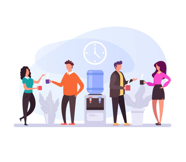 Business people characters having coffee break time lunch. Office life concept. Vector flat design graphic cartoon isolated illustration Business people characters having coffee break time lunch. Office life concept. Vector flat design graphic cartoon isolated coworker stock illustrations