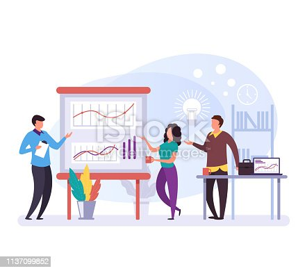 Business people characters talking and discussion plan and strategy. Company development concept. Vector flat design graphic cartoon isolated