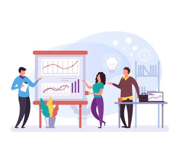Geschäftsleute Charaktere sprechen und diskutieren Plan und Strategie. Konzept der Unternehmensentwicklung. Vector Flachdesign Grafik-Zeichentrickfilm auf isolierte Illustration – Vektorgrafik
