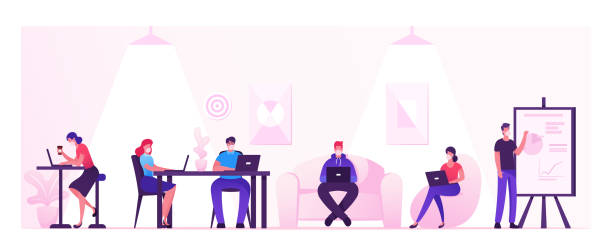 ilustrações de stock, clip art, desenhos animados e ícones de business people characters working and relaxing in coworking area or creative office at covid19 quarantine. teamwork communication, digital technologies and crowdsourcing. cartoon vector illustration - coworking