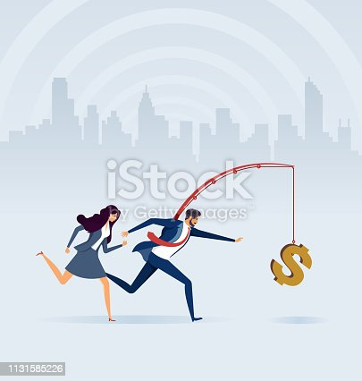 Business people chasing money on fishing rod