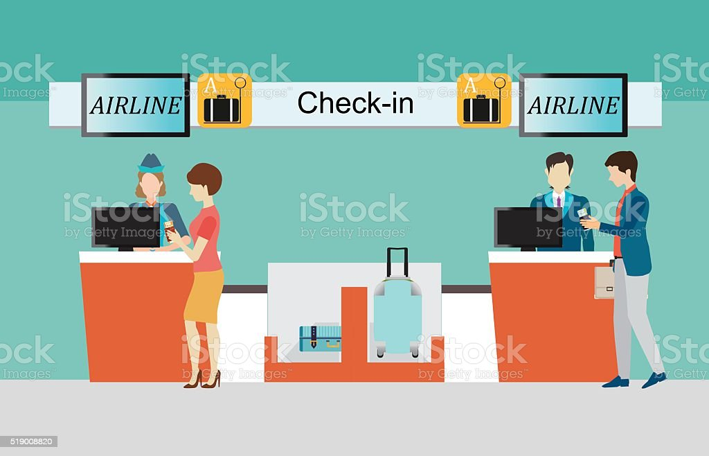 Business people checking in counter airplane. vector art illustration