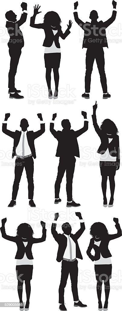 Business people cheering vector art illustration