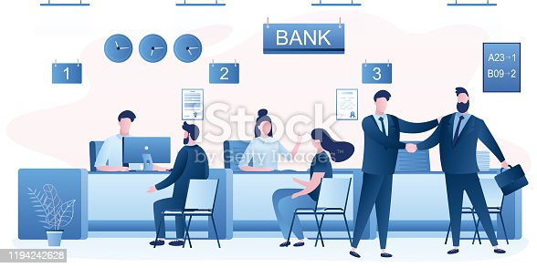 istock Business people clients and bank staff on workplace. Bank managers and customers characters. Financial consultant. 1194242628