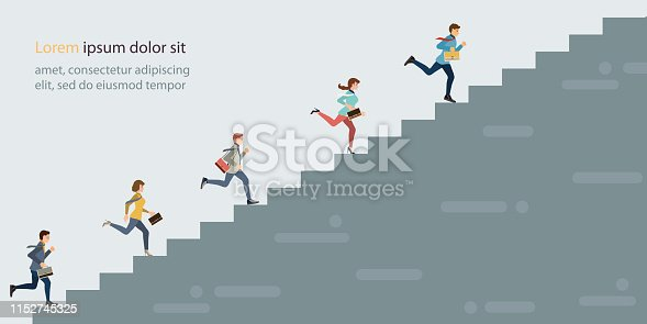 Business people climbing high stair. business competition concept vector illustration.
